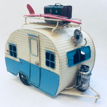 Classic CARAVAN CAMPER TOURING Model 28cm - BLUE & WHITE RETRO TOURER